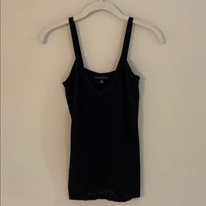 Banana Republic pointelle black v-neck tank top.